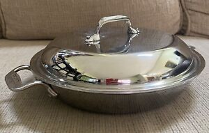 """ALL CLAD Cookware 10.5"""" Saute Sauce Pan 8"""" Stainless W Lid NICE"""
