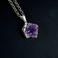 Druzy Amethyst Crystal Cluster Silver Plated Dipped Necklace Healing Gemstones
