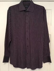 """TAYLOR AND WRIGHT EASY IRON STRIPED SHIRT BLACK AND PLUM 16 1/2"""" COLLAR"""
