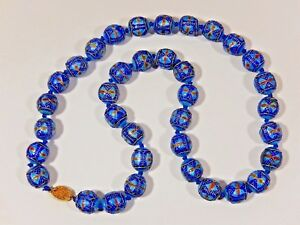 """RARE ANTIQUE CHINESE EXPORT KNOTTED ENAMELED STERLING 16mm BEAD 27"""" NECKLACE"""
