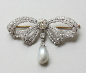 Antique Edwardian 10K Over 7ct Old Cut Diamond and Pearl Garland Bow Brooch Pin