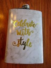 """New listing Flask , Celebrate with Style, Stainless Steel 8 oz. White and Gray """"Marble"""""""