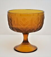 VINTAGE FTD AMBER GLASS PRESSED FOOTED BOWL COMPOTE CANDY DISH OAK LEAF