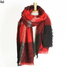 Red and Black Oversized Plaid Fashion Acrylic Scarf