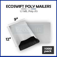 1000 9x12 White Poly Mailers Shipping Envelopes Self Sealing Bags 17 Mil 9 X 12