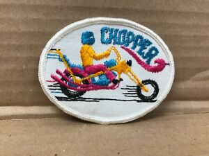 """VINTAGE 1970'S EMBROIDERED CHOPPER MOTORCYCLE JACKET PATCH  3.5"""" X 2.5"""""""