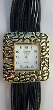 GOLDEN CLASSIC LADIES GOLD TONE WATCH WITH BLACK CORD AND GOLD TONE BRACELET