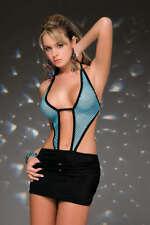 SEXY abito vestito LYCRA rete NERO/TURCHESE taglia S fashion club disco GLAMOUR