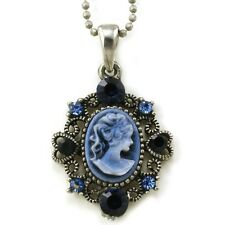 Navy Blue Cameo Pendant Necklace Charm Antique Vintage Classic Design Charm m8