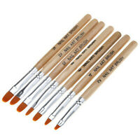 AM_ US_ 7Pcs Wooden Nail Painting Phototherapy Pen Brush Acrylic Gel Extension B