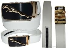 men's leather belt white jaguar belt auto lock buck 46 to 50 inches br new belt