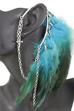 Women Long Genuine Feather Blue Drop Fashion One Side Cuff Earring Silver Cross