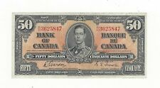**1937**Canadian $50 Dollar Note BC-26b,  Gor/Tow SN# B/H 3625847