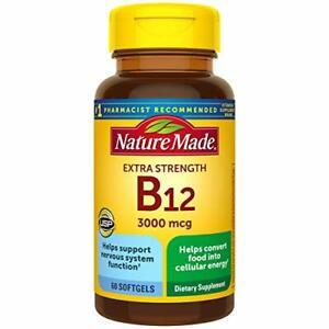 Nature Made Extra Strength Vitamin B12 3000 mcg Softgels, 60 Count