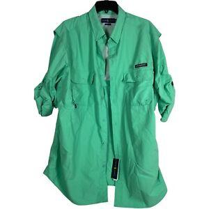 ralph lauren classic fit fishing shirt 2XL XXL Green Button Down Vented $110