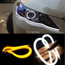 2x Switchback DRL LED Light Soft Strip Tube White Amber Sequential Turn Signal