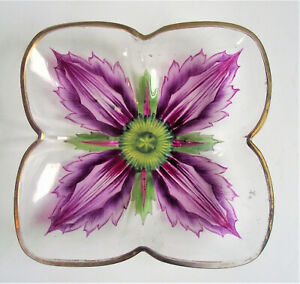 "LOBMEYR MEYR'S NEFFE 5"" Theresienthal PAINTED ENAMEL FLOWER ART GLASS PLATE DISH"