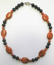 Schaumkoralle+Lava Halskette 49 cm, Glieder: 18 x 24 mm oval,  8 oder 10 mm rund