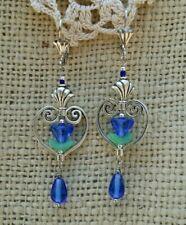 Vintage Victorian Style Earrings Blue Glass Flower Bead Silver Tone Heart Dangle