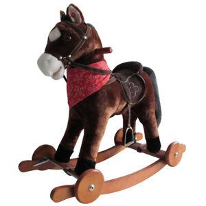 Schaukelpferd mit Sound und Rollen Holz Plüsch Schaukel Pferd bis 20kg NEU SP3