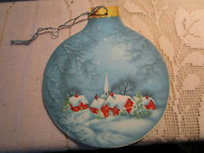 50's Church Village Scene 2-Sided Christmas Ornament Die-Cut Vtg XMAS Card