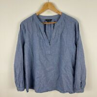 Wite + Womens Tunic Top 16 Plus Blue Long Sleeve V-Neck