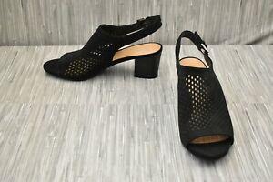 Franco Sarto Monaco 2 Slingback Sandal, Women's Size 10M, Black Suede NEW