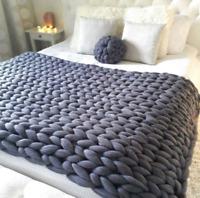 BlanketFly - Chunky Knit Blanket Thick Winter Warm Hand Yarn Merino Bulky Throw