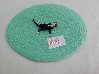 "Falcon Miniature Animal 1/2""  Scale 1"" Black Cat Kitty Kitten w/rug #2098-SK-R"