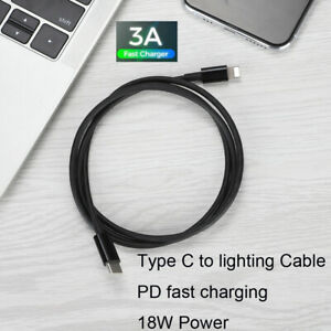 Type C to Lighting Fast Charging Cable PD 18W for X/XR/MAX 8 Macbook 3A 1meter