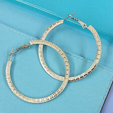 Womens Boho 5 cm BIG Flat Pattern RING Dangle Hoop Hook Earrings FASHION JEWELRY
