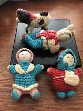 Vintage Set Of 4 Miniature Crocheted Dolls And Dog Amigurumi Asian Lot