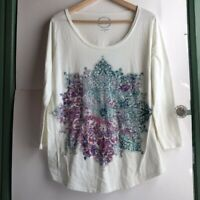 LUCKY BRAND Cream Ivory Pink Teal Blue Mandala 3/4 Sleeve Graphic Tee Top Large