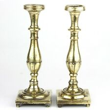 Heavyweight Pair of Brass Candlesticks Poland Ca 1800