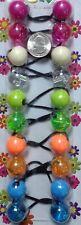 pink blue braid Scrunchie jumbo beads hair tie girl Ball Ponytail Holder