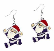 Santa Clause Christmas Silver Dangle Fashion Enamel Earrings