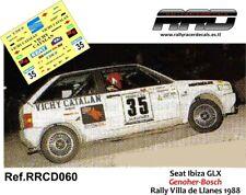 DECAL/CALCA 1/43; Seat Ibiza GLX; Genoher-Bosch; Rally Villa de Llanes 1988