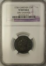 1736 Great Britain 1/4 Penny Farthing Coin NGC VF Details Obverse Damage
