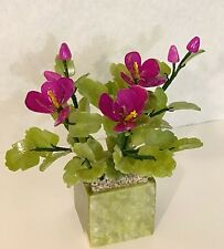 Handcrafted Jade and Glass Artificial Bonsai Purple Orchid Flower Basket
