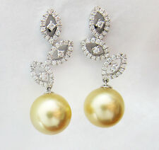 0.53CT Diamond and Pearl Earrings in 14K White Gold