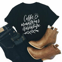 Coffee Mountains Adventure T-shirt Fashion Women Graphic Black Outdoor Tees Tops