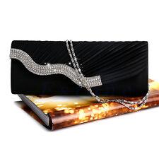 Diamante Satin Pleated Crystal Evening Handbag Clutch Purse Wedding Bridal Party