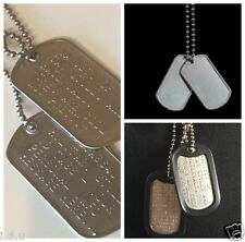 Military ID Stainless Dog Tags Custom US Army Personalised incl. Track Post