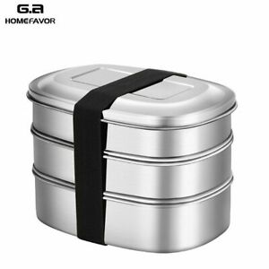 Lunch Box Stainless Steel 3 Layer Bento Food Container For Work School Leakproof