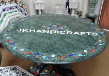 """48"""" Green Marble Round Dinning Table Top Semi Precious Stones Inlaid Work Gift"""