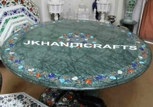 "48"" Green Marble Round Dinning Table Top Semi Precious Stones Inlaid Work Gift"