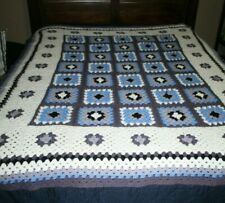 Vintage Granny Square afghan - Blues and Gray - NICE