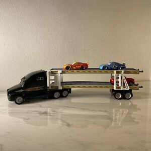 Car Transporter Truck With 2 Disney Cars And Red Pick Up Truck