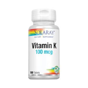 Solaray Vitamin K-1 100mcg | Healthy Bone Structure, Blood Clotting, Protein