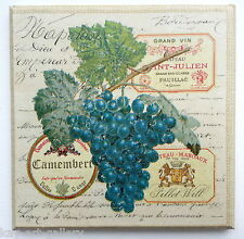 Wall Picture Plaque , Vintage Retro style Handmade / Grapes / Decoupage